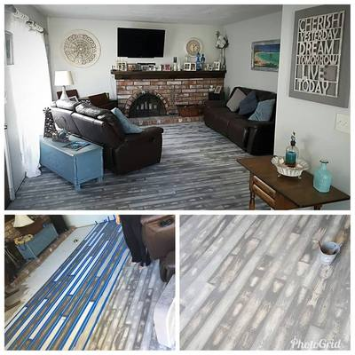 paint a concrete floor to look like wood